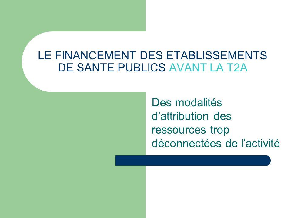 LE FINANCEMENT DES ETABLISSEMENTS DE SANTE PUBLICS AVANT LA T2A