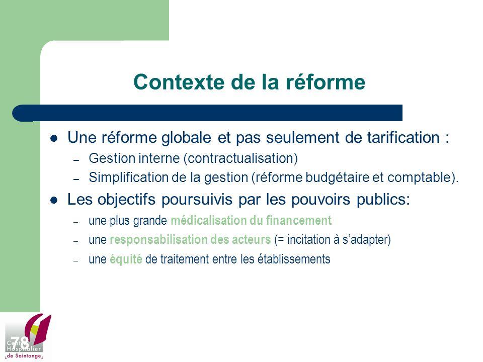 Contexte de la réforme Une réforme globale et pas seulement de tarification : Gestion interne (contractualisation)