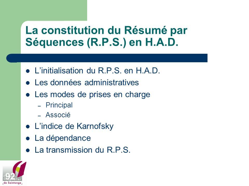 La constitution du Résumé par Séquences (R.P.S.) en H.A.D.