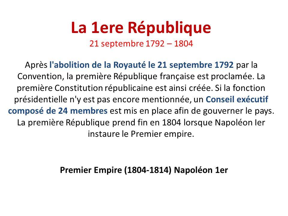Premier Empire (1804-1814) Napoléon 1er