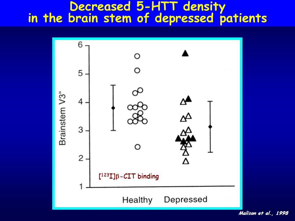 Decreased 5-HTT density in the brain stem of depressed patients