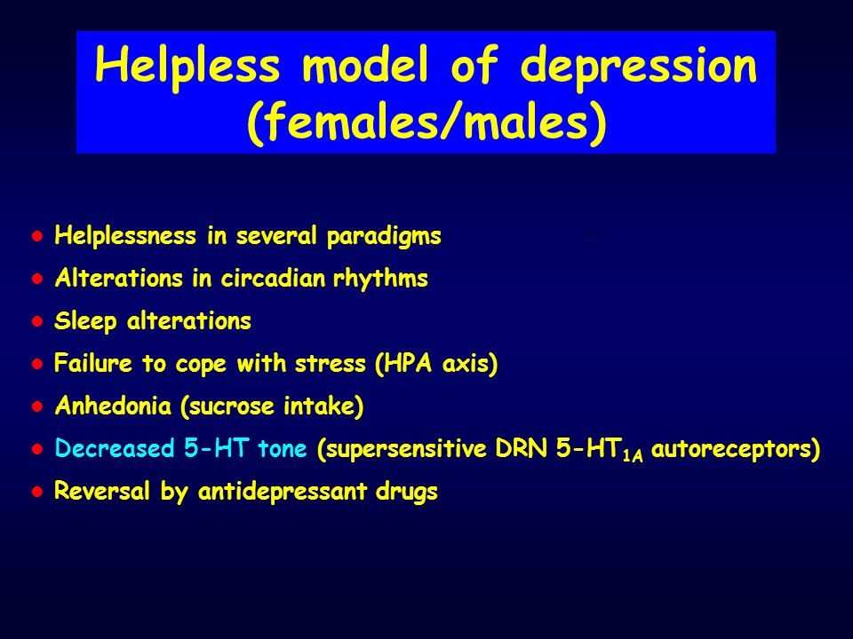 Helpless model of depression (females/males)