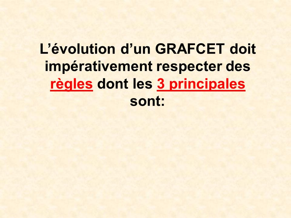 L'évolution d'un GRAFCET doit impérativement respecter des règles dont les 3 principales sont: