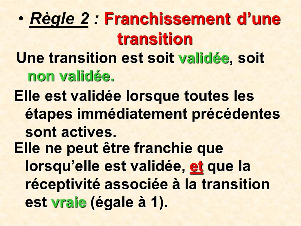 Règle 2 : Franchissement d'une transition