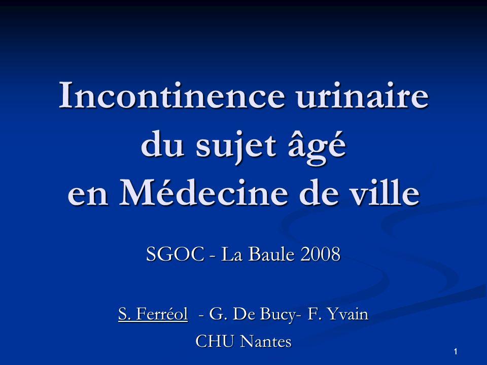 Incontinence urinaire du sujet âgé en Médecine de ville