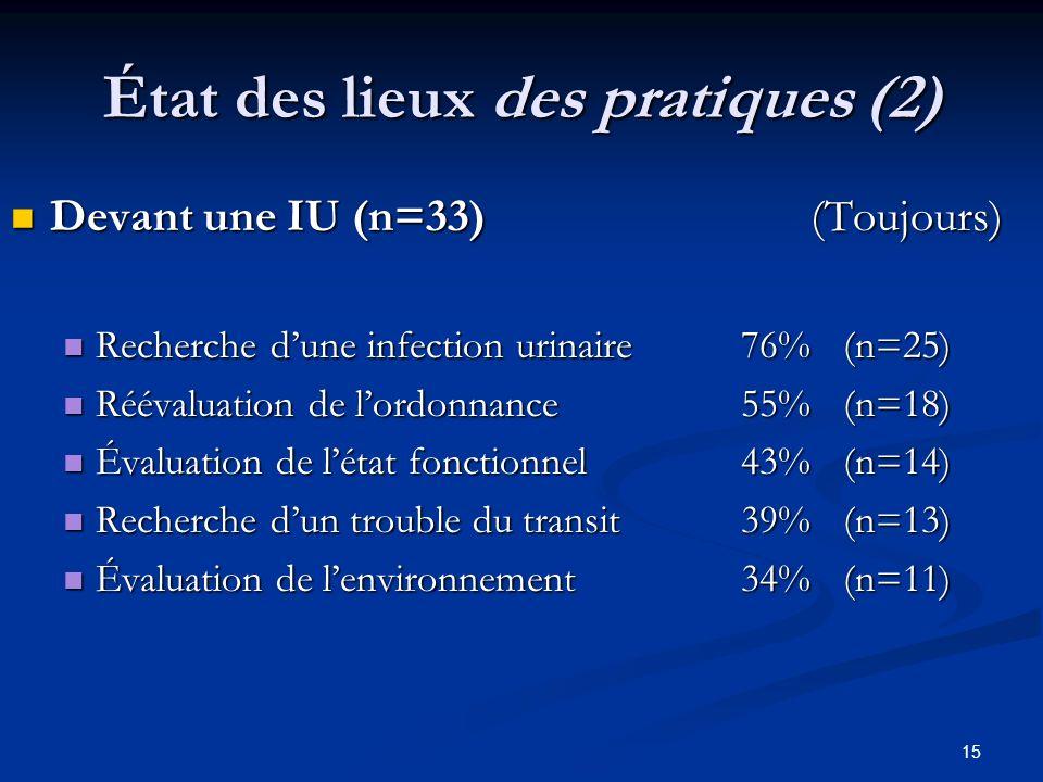 État des lieux des pratiques (2)