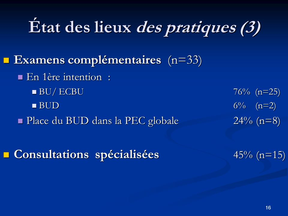 État des lieux des pratiques (3)