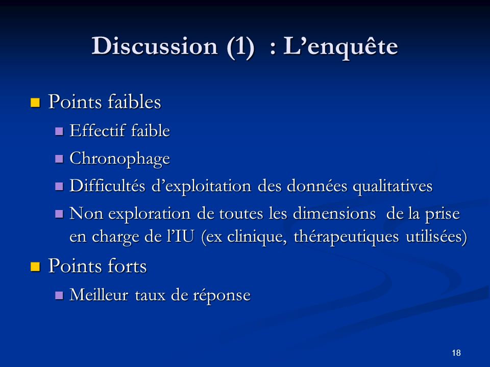 Discussion (1) : L'enquête