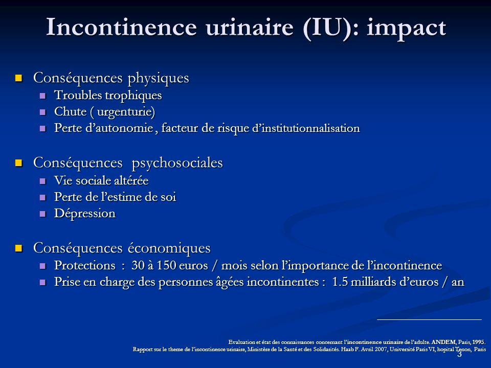 Incontinence urinaire (IU): impact