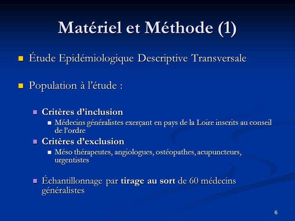 Matériel et Méthode (1) Étude Epidémiologique Descriptive Transversale