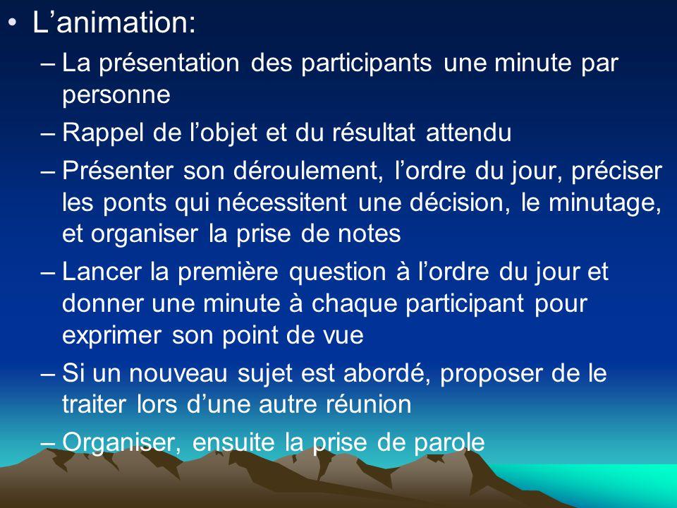 L'animation: La présentation des participants une minute par personne