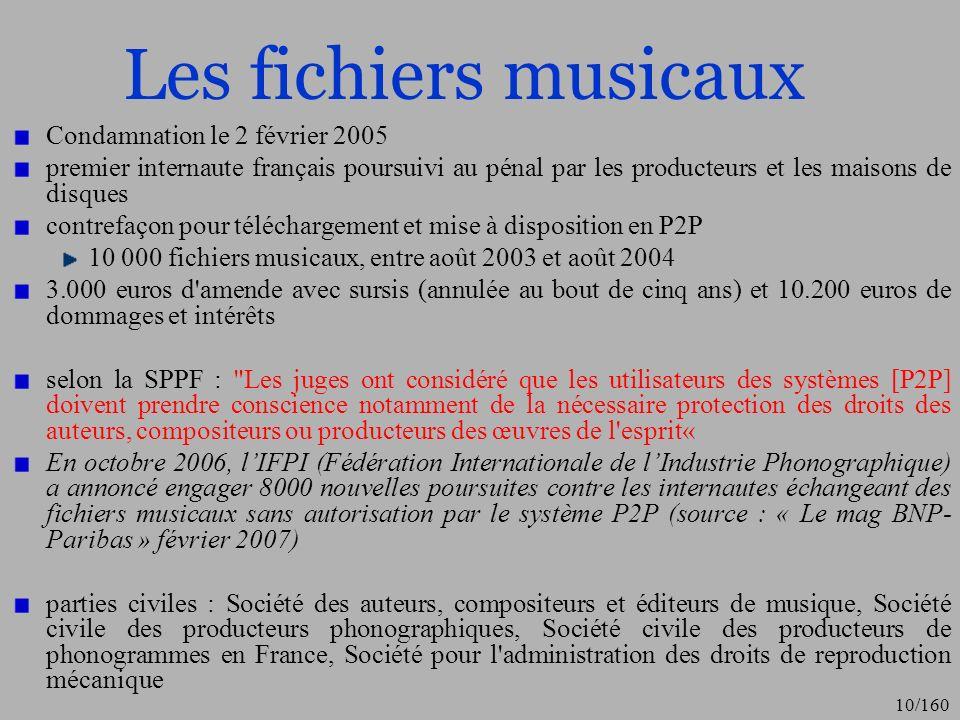 Les fichiers musicaux Condamnation le 2 février 2005
