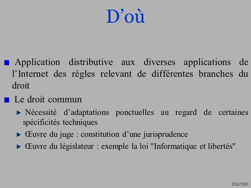 D'où Application distributive aux diverses applications de l'Internet des règles relevant de différentes branches du droit.