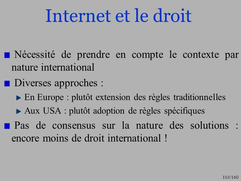 Internet et le droit Nécessité de prendre en compte le contexte par nature international. Diverses approches :