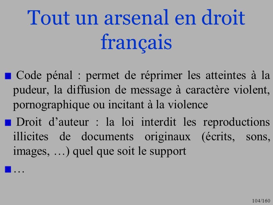 Tout un arsenal en droit français