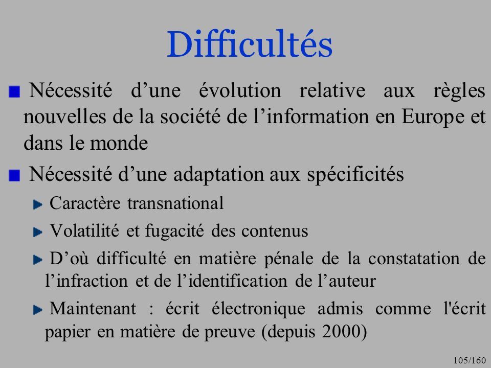 Difficultés Nécessité d'une évolution relative aux règles nouvelles de la société de l'information en Europe et dans le monde.