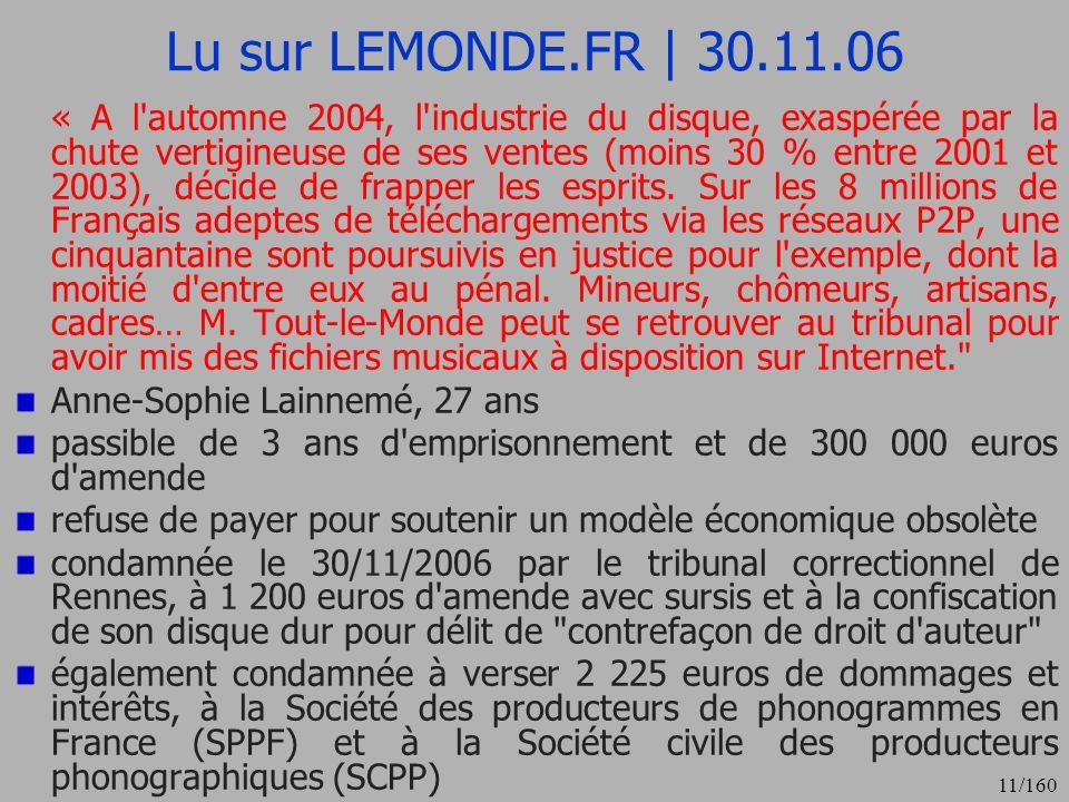 Lu sur LEMONDE.FR | 30.11.06 Anne-Sophie Lainnemé, 27 ans