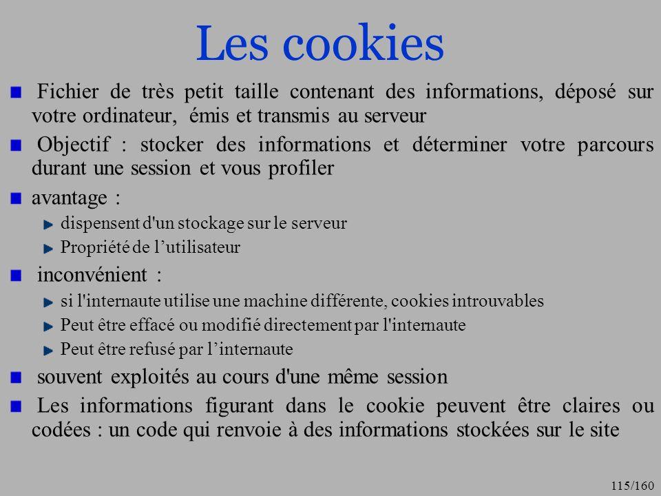 Les cookiesFichier de très petit taille contenant des informations, déposé sur votre ordinateur, émis et transmis au serveur.