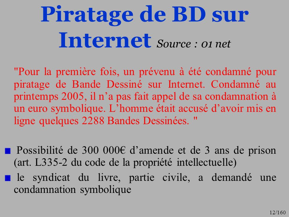 Piratage de BD sur Internet Source : 01 net