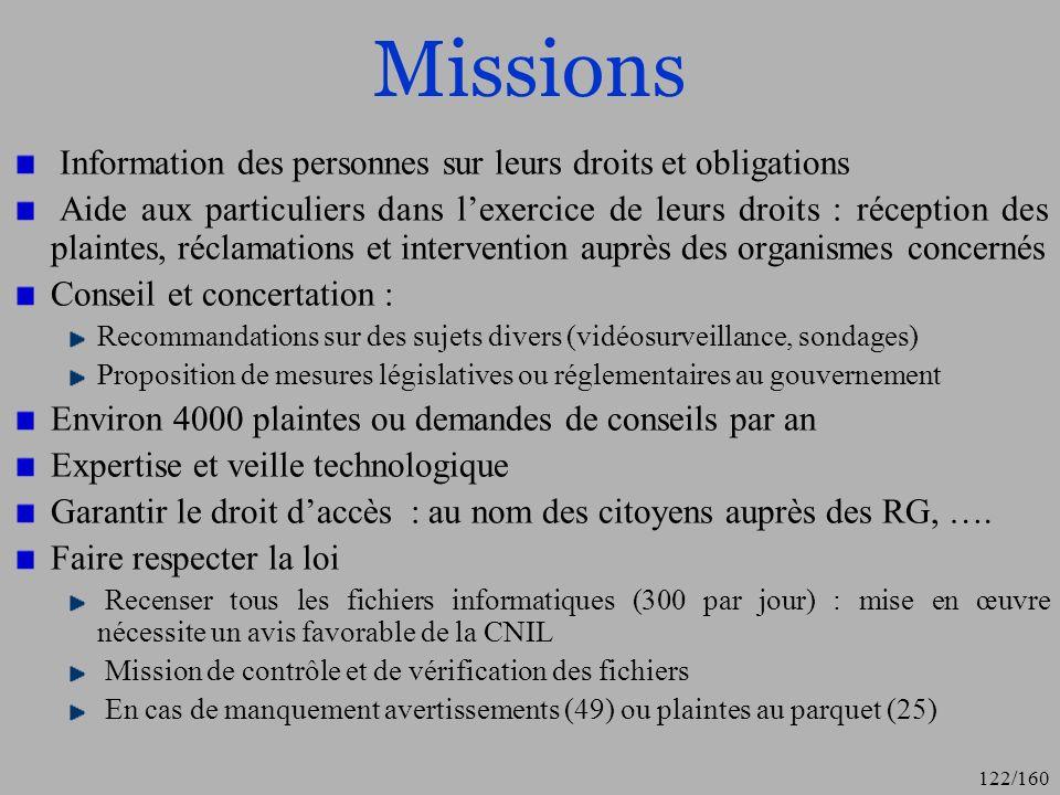 Missions Information des personnes sur leurs droits et obligations