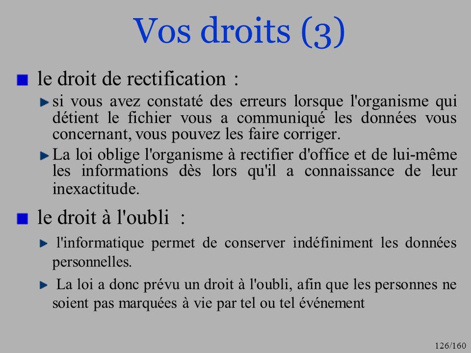 Vos droits (3) le droit de rectification : le droit à l oubli :