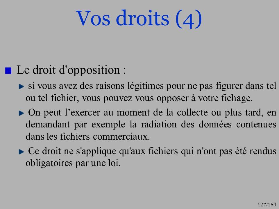 Vos droits (4) Le droit d opposition :
