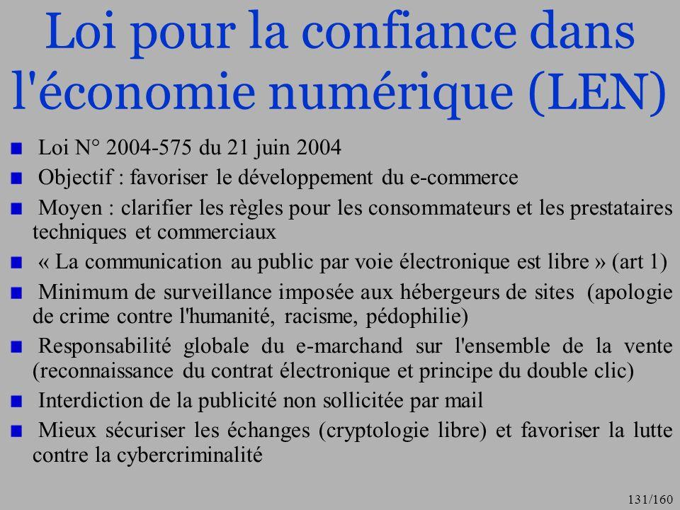Loi pour la confiance dans l économie numérique (LEN)