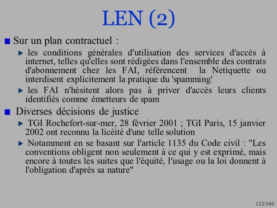 LEN (2) Sur un plan contractuel : Diverses décisions de justice