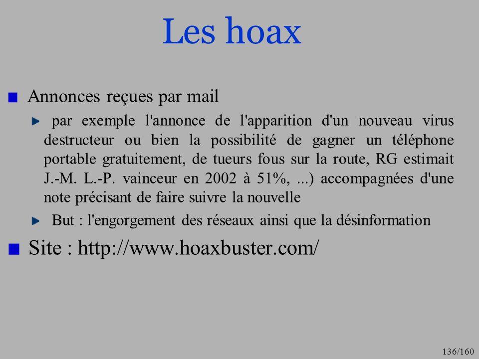Les hoax Site : http://www.hoaxbuster.com/ Annonces reçues par mail