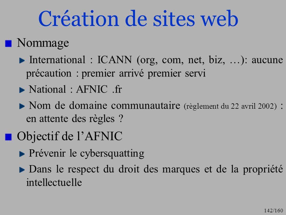 Création de sites web Nommage Objectif de l'AFNIC