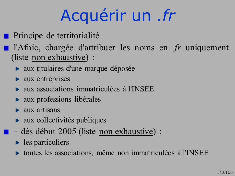 Acquérir un .fr Principe de territorialité