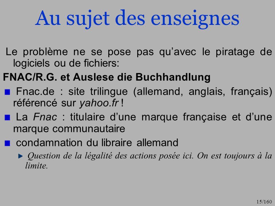Au sujet des enseignesLe problème ne se pose pas qu'avec le piratage de logiciels ou de fichiers: FNAC/R.G. et Auslese die Buchhandlung.