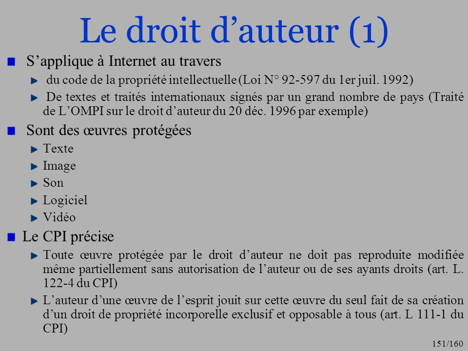 Le droit d'auteur (1) S'applique à Internet au travers
