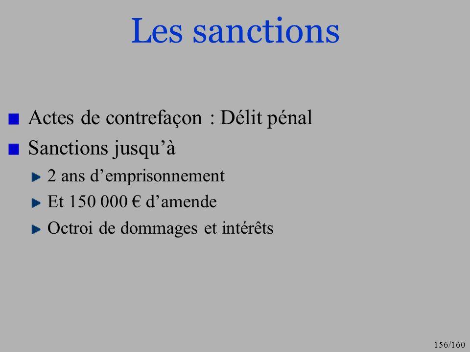 Les sanctions Actes de contrefaçon : Délit pénal Sanctions jusqu'à