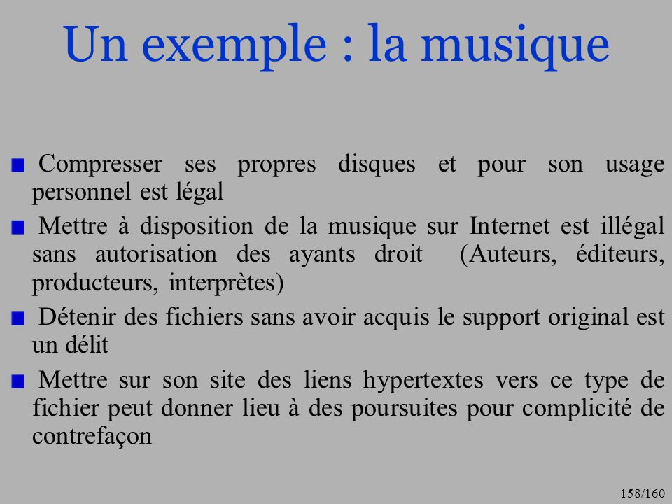 Un exemple : la musique Compresser ses propres disques et pour son usage personnel est légal.