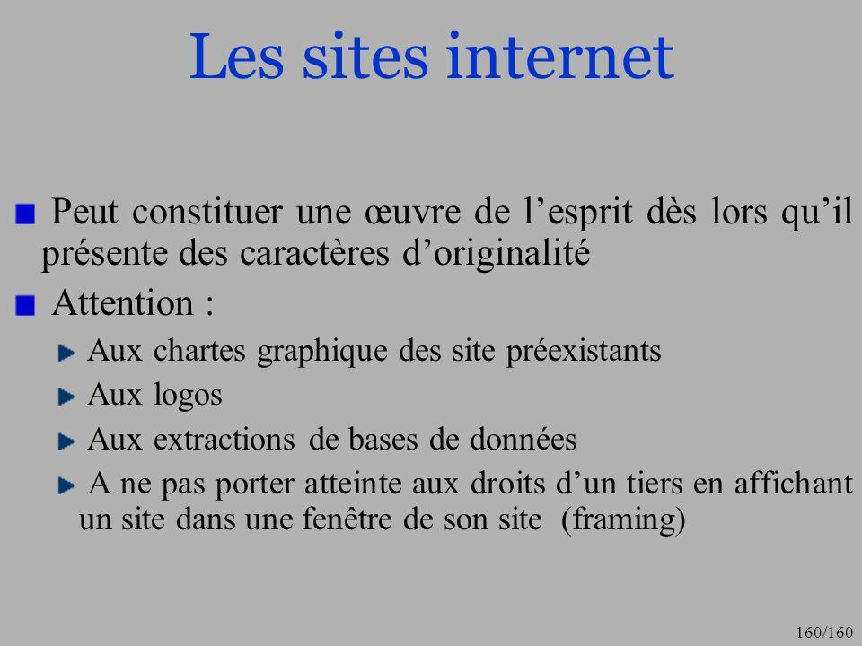 Les sites internet Peut constituer une œuvre de l'esprit dès lors qu'il présente des caractères d'originalité.