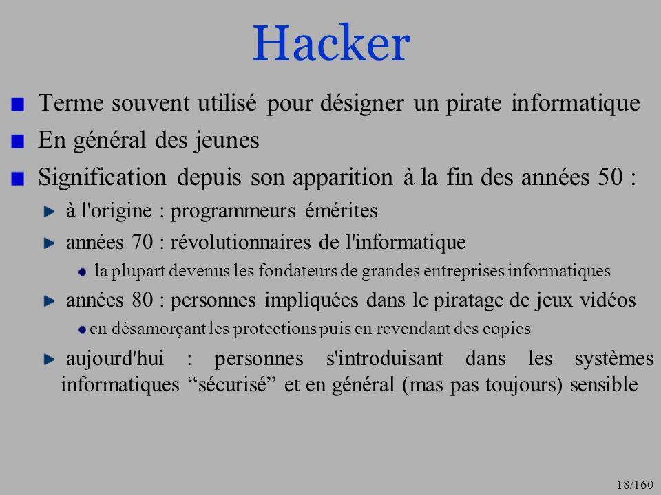 Hacker Terme souvent utilisé pour désigner un pirate informatique