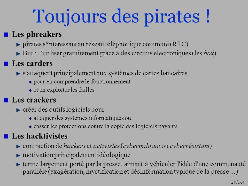 Toujours des pirates ! Les phreakers Les carders Les crackers
