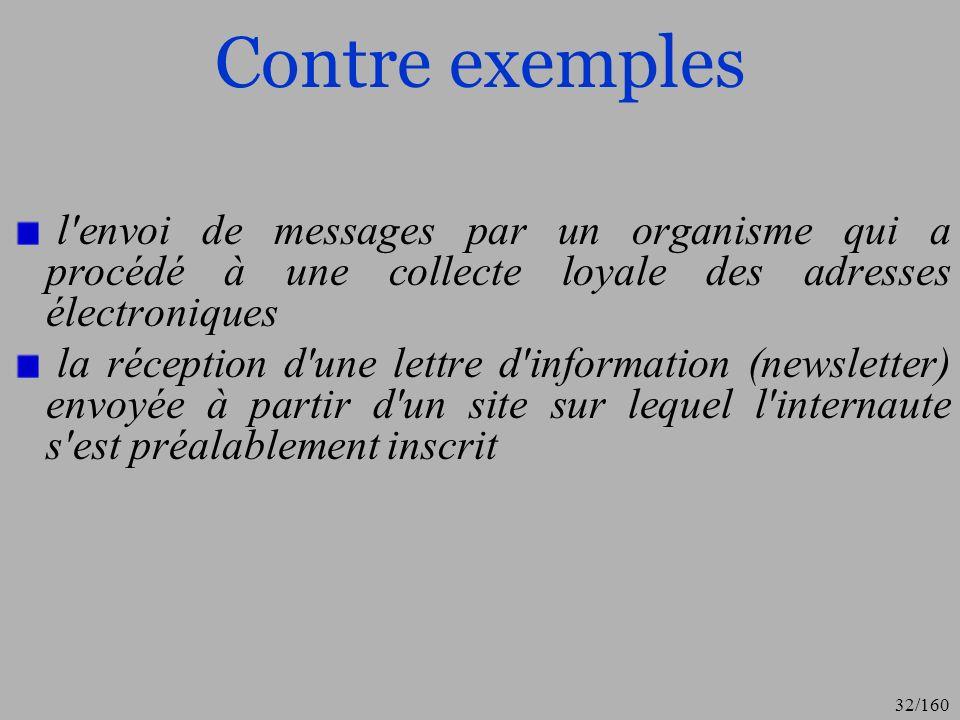 Contre exemples l envoi de messages par un organisme qui a procédé à une collecte loyale des adresses électroniques.
