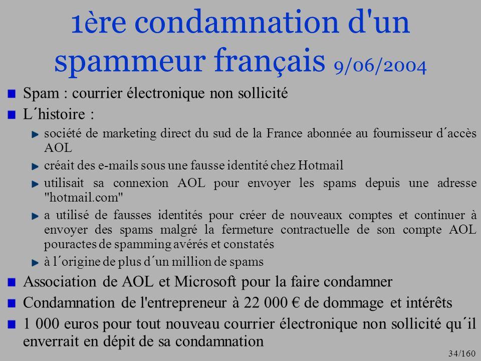 1ère condamnation d un spammeur français 9/06/2004