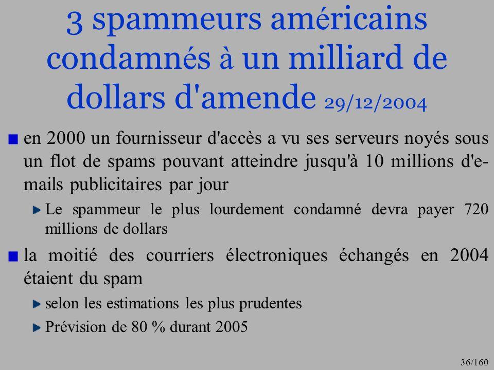 3 spammeurs américains condamnés à un milliard de dollars d amende 29/12/2004