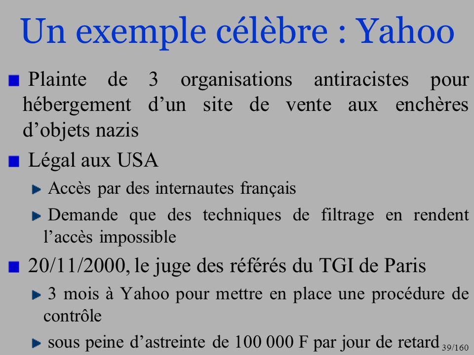 Un exemple célèbre : Yahoo