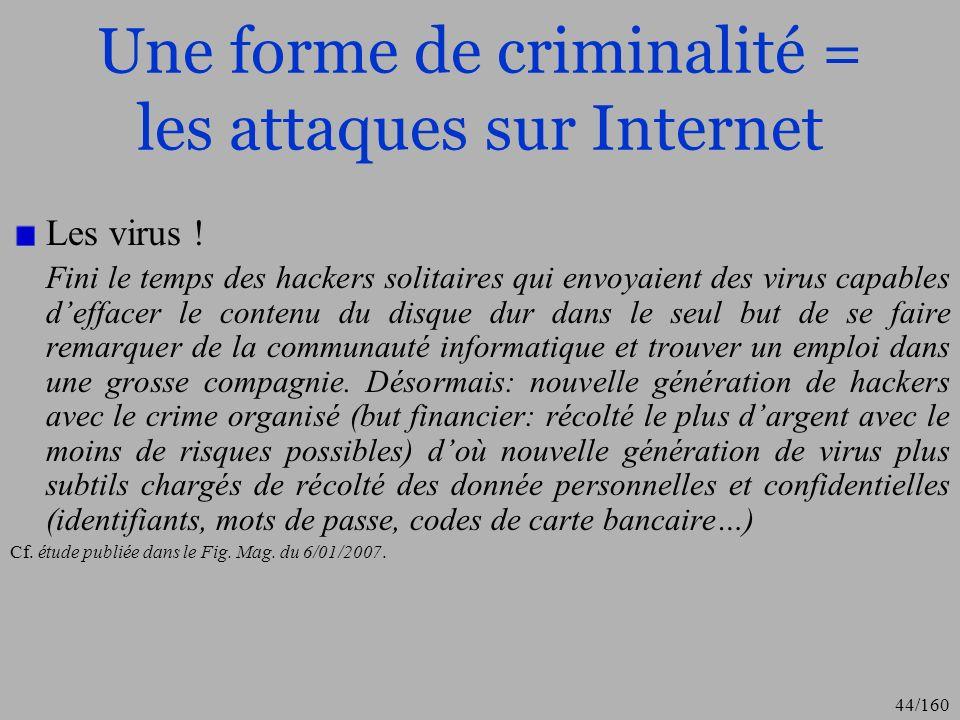 Une forme de criminalité = les attaques sur Internet