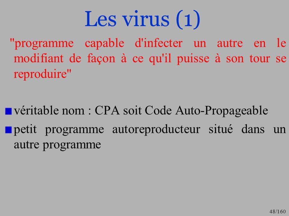 Les virus (1) programme capable d infecter un autre en le modifiant de façon à ce qu il puisse à son tour se reproduire
