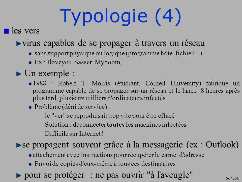 Typologie (4) les vers. virus capables de se propager à travers un réseau. sans support physique ou logique (programme hôte, fichier ...)
