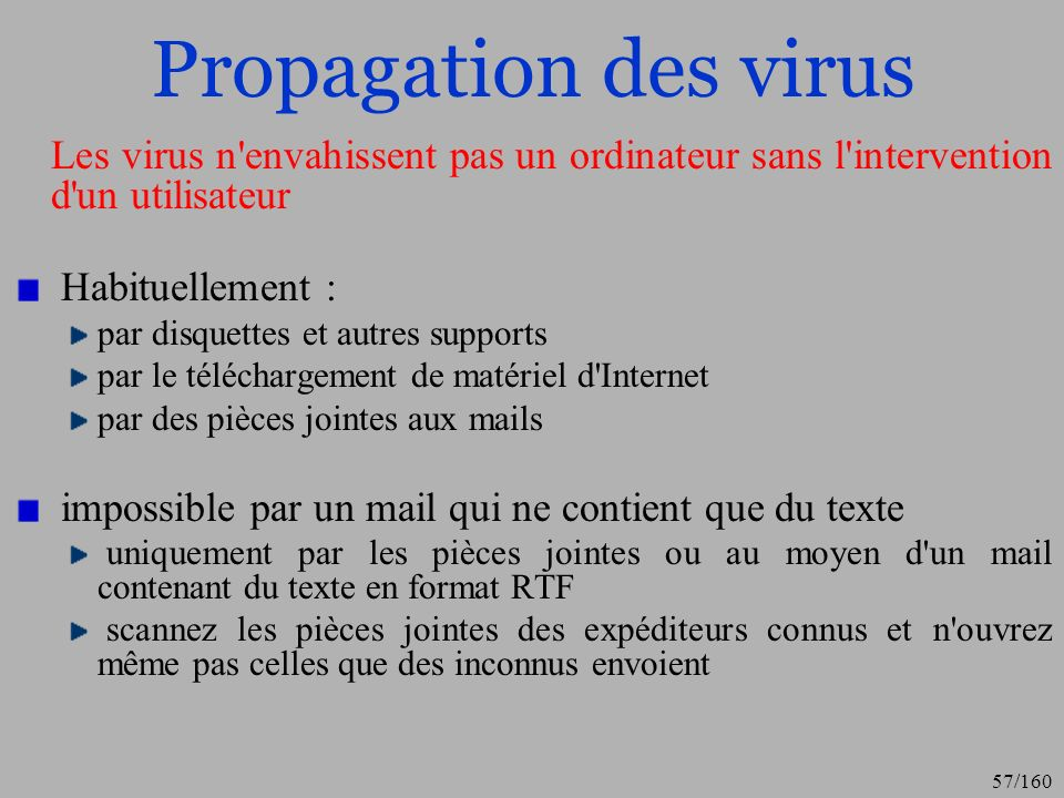 Propagation des virus Les virus n envahissent pas un ordinateur sans l intervention d un utilisateur.