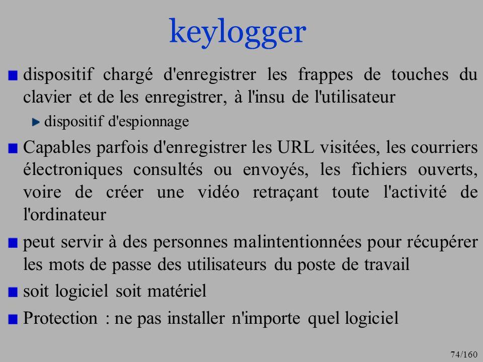 keylogger dispositif chargé d enregistrer les frappes de touches du clavier et de les enregistrer, à l insu de l utilisateur.