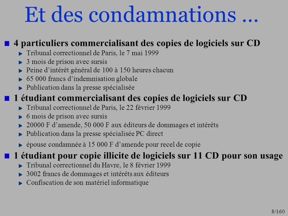 Et des condamnations … 4 particuliers commercialisant des copies de logiciels sur CD. Tribunal correctionnel de Paris, le 7 mai 1999.
