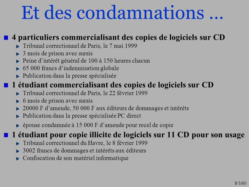Et des condamnations …4 particuliers commercialisant des copies de logiciels sur CD. Tribunal correctionnel de Paris, le 7 mai 1999.