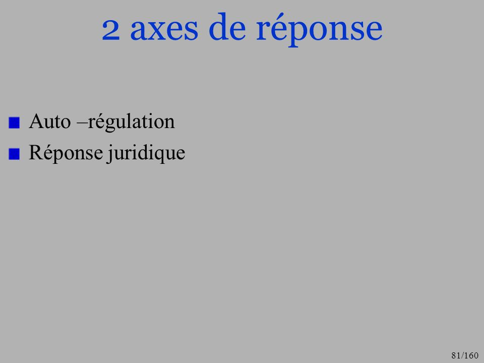 2 axes de réponse Auto –régulation Réponse juridique